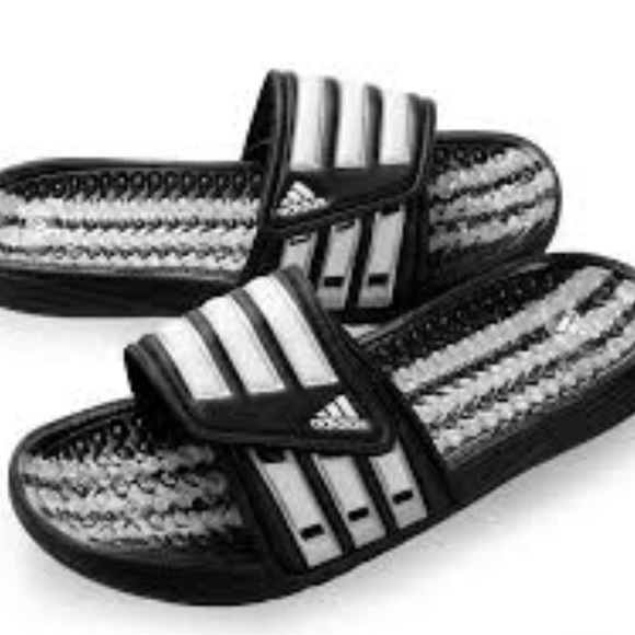 391d2c9f92be adidas Other - Adidas Calissage Black White Logo Velcro Slides